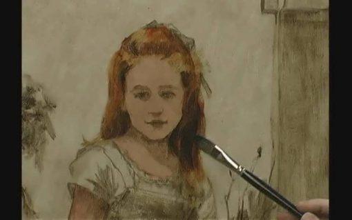 نقاشی رنگ روغن از لیلیه دال - پرتره کودک