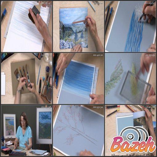 آموزش نقاشی با مداد رنگی - نقاشی منظره بزرگ به شیوهای راحت