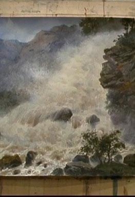 نقاشی آبشار با آبرنگ سرگی آندریاکا